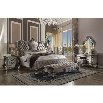 26820Q VERSAILLES SILVER QUEEN BED