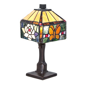 "11.75""H Stained Glass Rose Butterfly Accent Lamp"