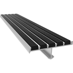 "72"" Ribbed Bar Abrasive Stair Nosing, Black"