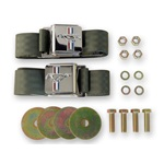 Seat Belt Set with Mustang Emblem (Green, Pair)