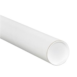 "3 X 20"" WHITE TUBES W CAPS, .070 THICK, 24/CS"