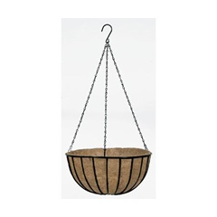 Black Wire Traditional Hanging Basket with Coco Liner