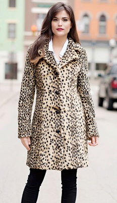Faux Fur Leopard Tailored Coat - Medium