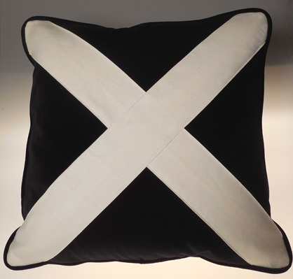 Black Velvet White X Pillow
