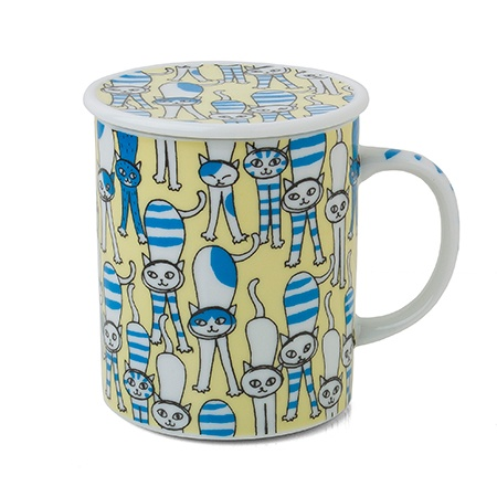 Cat Lidded Mug - Stretchy Yellow
