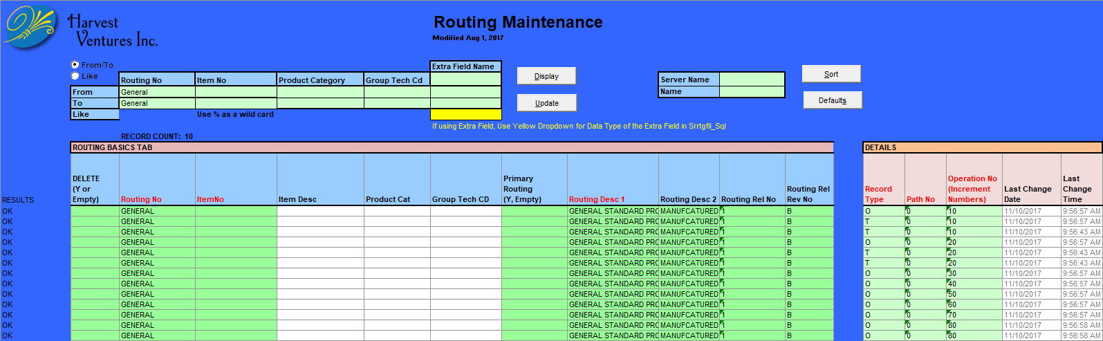 routing maintenance screen capture
