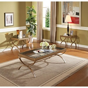 80080 GOLD 3PC PK COFFEE/END TABLE