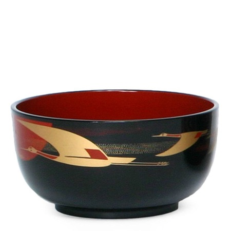 "Bowl 5.5"" Donburi Black Crane"