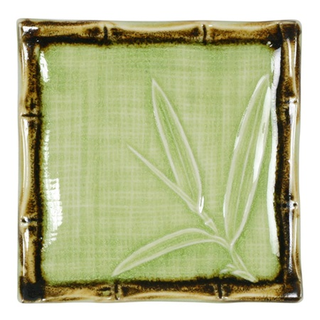 "Green Bamboo 4.5"" Sq. Plate"