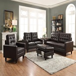 50261 ESPRESSO LEATHER GEL LOVESEAT