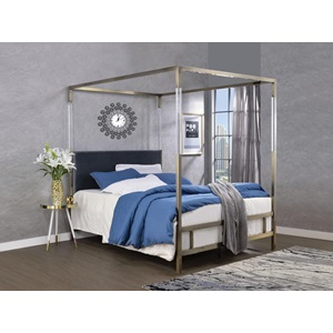 22670Q RAEGAN GRAY VELVET QUEEN BED