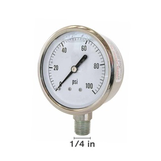"Gly 100 PSI 1.5"" Face Bottom Mount Gauge"
