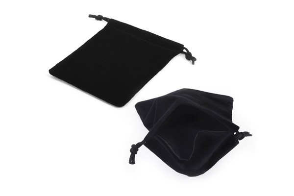 black suede pouch with inner divider