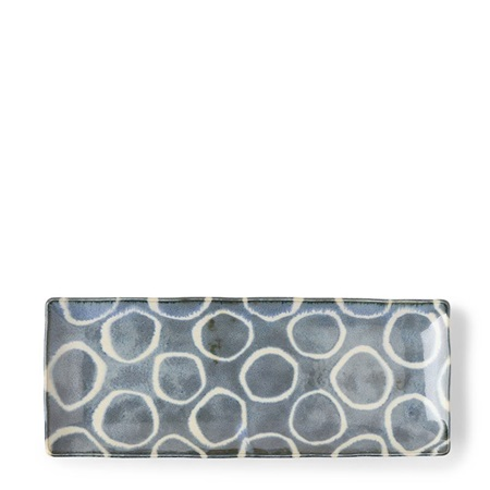 Rustic White Circles Rectangle Plate