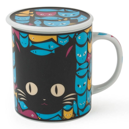 Mask Cat & Fish 8 Oz. Lidded Mug - Black & Blue