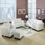 15095B WHITE BONDED LEATHER SOFA