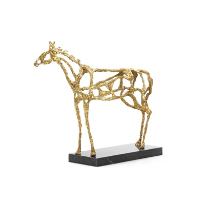 Gold Arabian Horse Statue on Black Marble Base