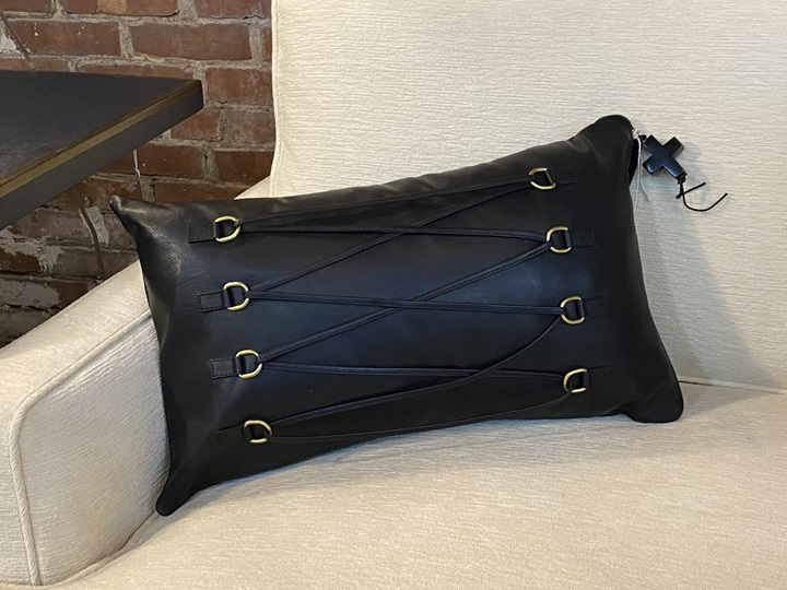 Jan Barboglio Black Leather w/ Corset and Gold Tabs Down Pillow