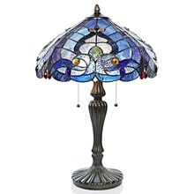 "24.25""H Tiffany Style Stained Glass Sea Shore Table Lamp"