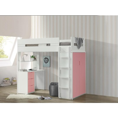 38040 NERICE PINK TWIN LOFT BED