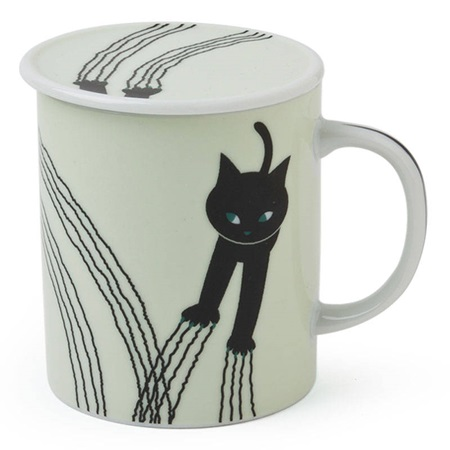 Naughty Cat 8 Oz. Lidded Mug - White