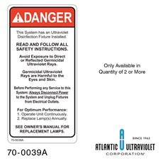 Danger Label for Duct 2 x 4""