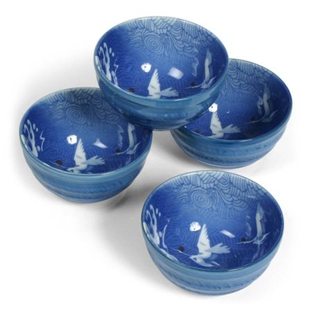 "BLUE CRANES 5.25"" BOWL SET"