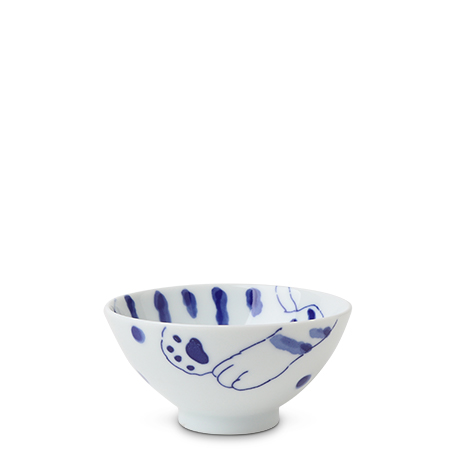 "Blue Cats 4.5"" Rice Bowl Tora"