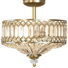 "15.25""H Tiered Jeweled Glass Metal Semi-Flush Mount Lighting Fixture"