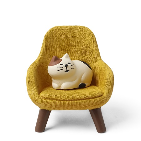 Figurine Cat with Yellow Chair