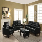 50268 BLACK LEATHER GEL OTTOMAN