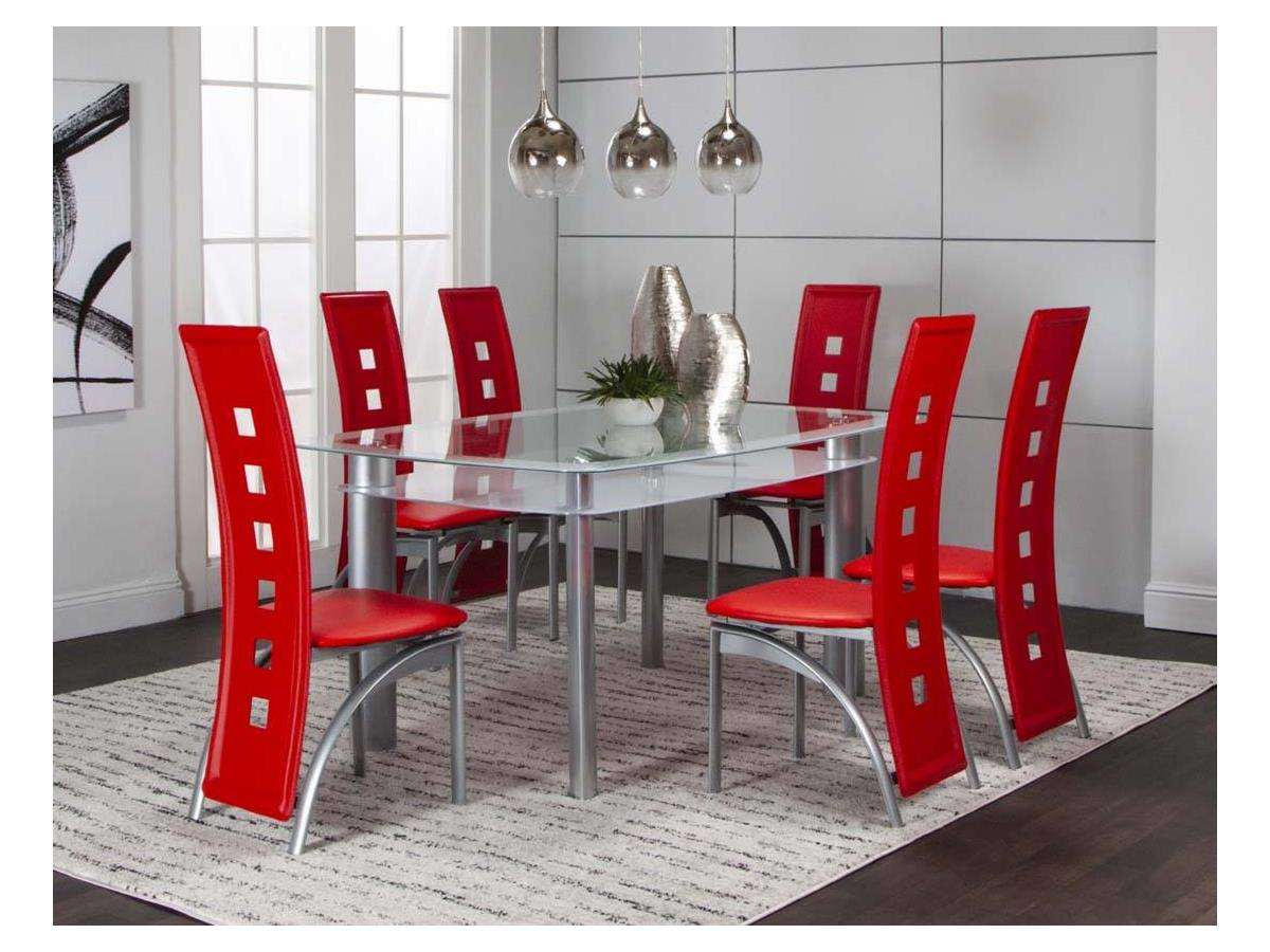 VALENCIA 40x60 WHITE 7PC SET w/RED SIDE CHAIRS