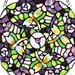 "12""H Tiffany Style Stained Glass Purple Pansy Window Panel"