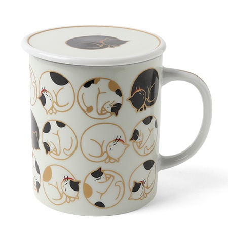 Sleepy Cat 8 Oz. Lidded Mug - White