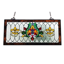 "30""L Fleur De Lis Stained Glass Pub Window Panel"