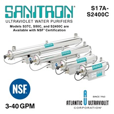 SANITRON® UV Water Purifiers 3-40 GPM - Single Chamber Models (Lamp / Quartz Sleeve Included)