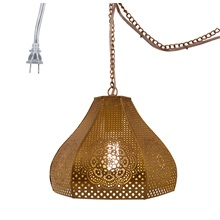 "10""H Moroccan 1-Light Pierced Metal Pendant"