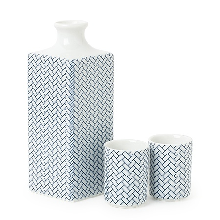 Sake Set Ajiro Blue & White