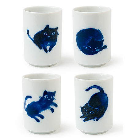 MIDNIGHT BLUE CAT CUP SET