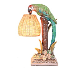"13.8""H Welcoming Parrot with a Wicker Basket Shade Table Lamp"