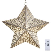 "17.7""H Outdoor Cordless LED Punched Metal Star Lantern"