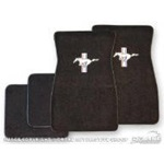 Embroidered Carpet Floor Mats (Black)