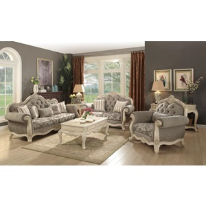 56020 ANTIQUE WHITE SOFA W/5 PILLOWS