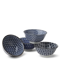 "Blue & White 5.75"" Bowl Set/4"