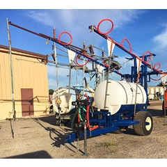 Front view CCI 400 gallon blueberry hoop boom sprayer