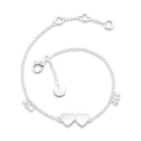 Daisy London Good Karma Bracelet, Double Heart