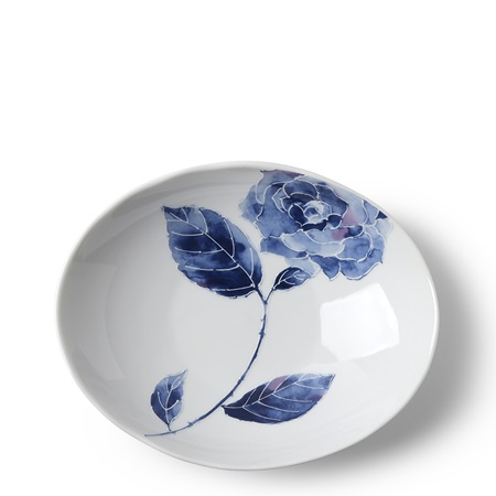 Blue Rose Oval Plate