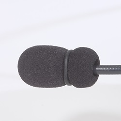Detail of mic muff secured with o-ring.