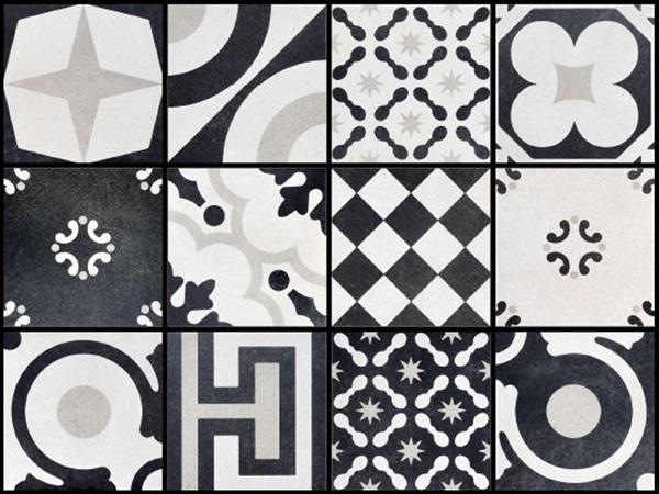Tierra Sol Ceramic Tile Fioranese Cementine Black White