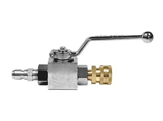 "MTM Hydro 1/2"" Plated Steel Ball Valve w/ QC's Installed"